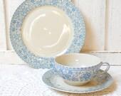 SALE vintage tea cup, tea cup trio set, german porcelain, tea cups, tea trio, german teacup, blue, shabby chic, cottage chic