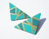 Ocean Angle Teal Post Earrings