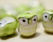 10 Pcs Porcelain Owl Beads. Lime Green Color Hand painted Porcelain Bead 17mm.