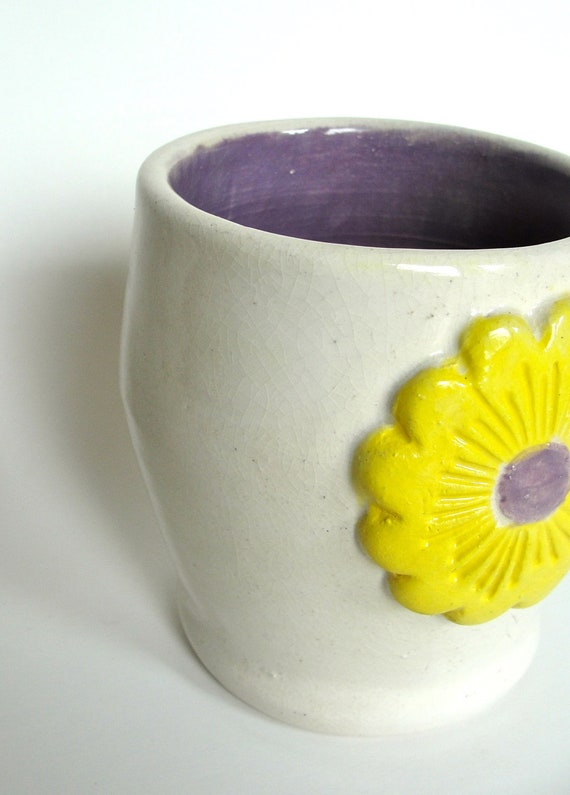 Reserved for Shannon-Cup, Tumbler ,Vase ,Pencil Holder,Toothbrush Holder ,Ceramic Stoneware, Flower ,Yellow ,Daisy, OOAK