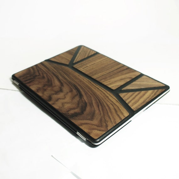 iPad Case iPad Smart Cover with Back Case Automatic for iPad  2, 3 Leather/Wood Combination Handmade Custom Made