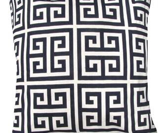 Black Pillow Cover -Greek Key Maze Sherbet- Black and Ivory Pillow Cover- 18 x 18 Pillow Cover