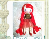 "Ballerina Cloth Doll, Pink Hair, Ballerina Shoes, Handmade OOAK Doll, Flowers, Pink, Girls, RTG, 18"" Doll"