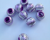 20 Sparkling Purple Engraved Beads (14mm)