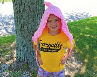 Pink Gnome Hat, Crochet Pixie Hood, Pink Elf Cap, Holiday Cap, Womens Hobbit Hat, Fairy Hat, Fantasy Hat, Womens Hood, Pink Hood, Pixi