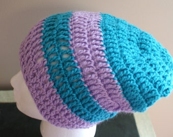 Womens Beanie, Slouchy Cap, Winter Fashion Hat, Womens Stripe Hat, Purple Crochet Hat, Womens Fashion Hat, Blue Stripe Cap, Spring Cap