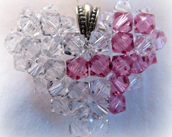 BREAST CANCER AWARENESS Pink Ribbon Heart Clear