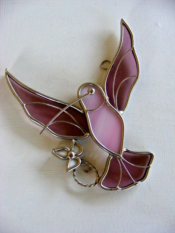 Vintage Stained Glass Hummingbird with Flower Suncatcher