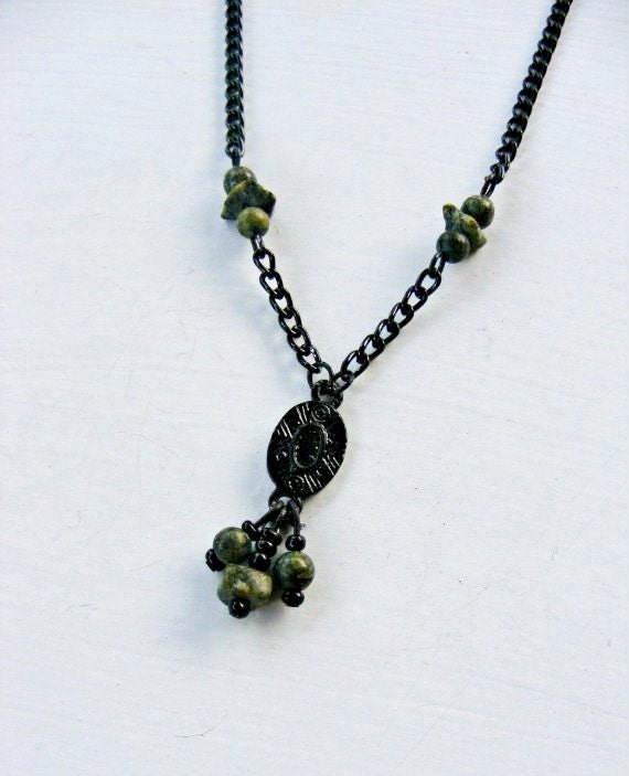 Dainty Victorian Gothic Necklace Black Chain and Jasper Beads