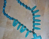STUNNING Natural Stone Turquoise Howlite Cross Spike Beaded Bead Silver Boho Bohemian Festival Necklace 70's 1970's Style