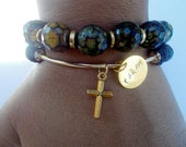 Charm bracelet, Taken, Statement Jewelry, Lava stone, Faith Gift, Christian Jewelry