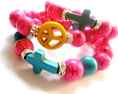 Girls' bracelet, Stocking stuffer, Neon color Cross, Peace bracelet