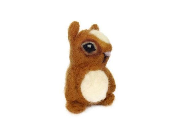 Needle Felted Chipmunk, Miniature Amigurumi Animal Soft Sculpture (Charlotte)