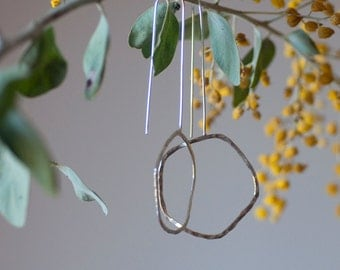Hoops on a long thread. Sterling silver earrings
