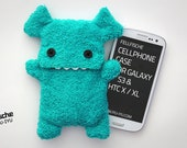 Fluffy Cellphone Case for iPhone 6 & Galaxy S3 / S4 - Turquoise with Teeth