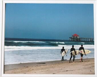 8 x 10 matted photo, surfers, Huntington Beach, California, ocean