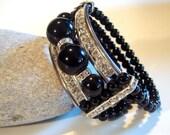 Cocktail Bracelet, Lucite, Rhinestone, Black Beaded, Costume Jewelry