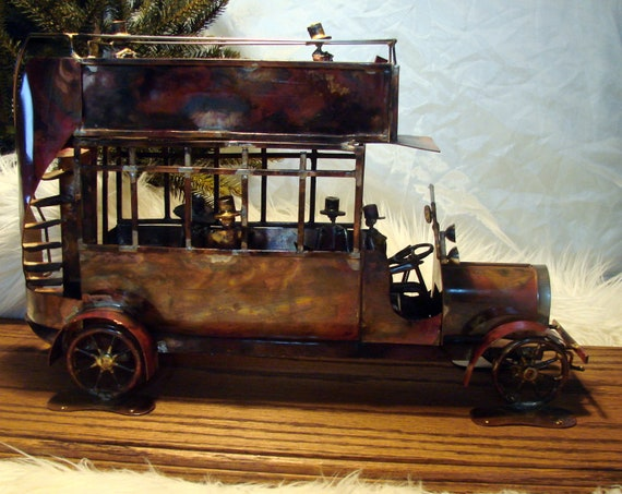 Old Vintage Tramp Art Copper and Brass Double Decker Bus, Home decor, Antique Alchemy