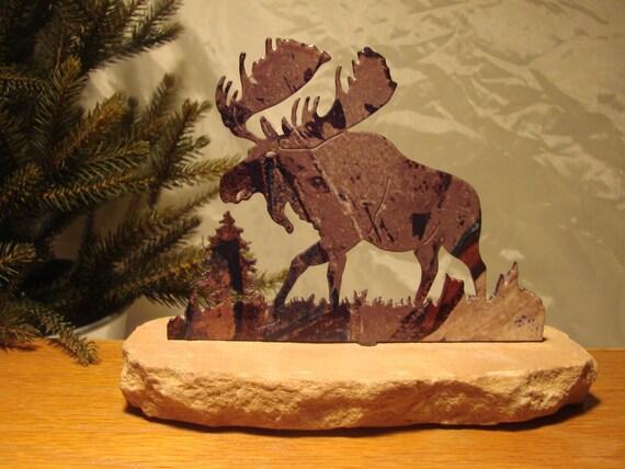 Rustic Metal Moose Scene with Sandstone Base
