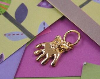 037 Gold Gardening Glove Charm