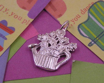 054 Silver Watering Can Charm with Flowers