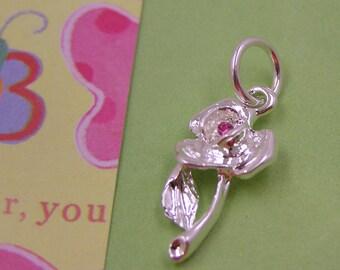 Silver Rose Flower Garden Tree Green  with Swarovski Crystal Charm