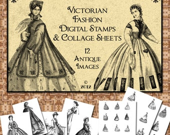 Victorian Fashion Digital Collage Sheet and Seperate Stamps for your Crafting Projects - Instant Download