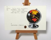 Print of Black Vintage Globe Painted on Library Card - fall colors autumn back to school