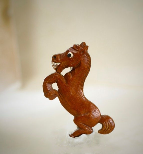 Vintage Wood Horse Brooch Cowgirl Hand Carved Rustic Kitsch