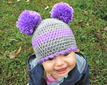 Crochet Double pom pom hat for babies and kids