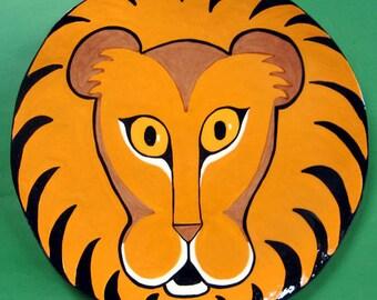 LION PLATE Handmade hand painted designed by Nina Lyman