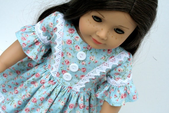 """RESERVED : Historical 1850's Dress, Floral Blue Rose with Cotton Cluny Lace, Tiered Skirt, Ruffled Sleeve for American Girl 18"""" Dolls"""