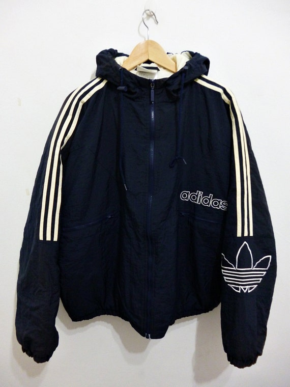 items similar to vintage 80s adidas hip hop run dmc style hoodies oversized puffer track bomber. Black Bedroom Furniture Sets. Home Design Ideas