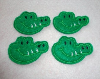 Gator Felts, Alligator Felts, Set of 4 Felt Alligator Embroidered  Embellishments