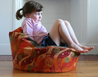 modern kids bean bag chair cover - psychedelic retro pattern