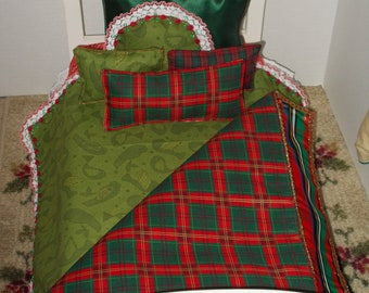 Holiday Plaid 18 in Doll Bedding