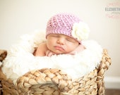 Crochet Baby Hat- Purple with Ivory Flower