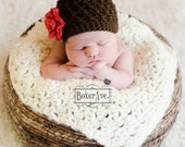 Crochet Baby Hat, Baby Girl Hat, Brown and Red, Toddler Girl Hat