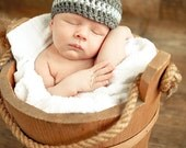 Baby Boy Crochet Hat- Gray and Blue