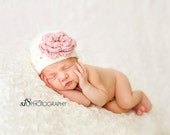 Crochet Baby Girl Hat- Cream/ivory with pink flower