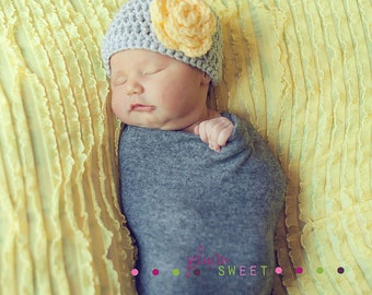 Crochet Baby Girl Hat- Gray with yellow flower