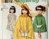 1970s  Girls Cape and Dress Pattern-Size 8