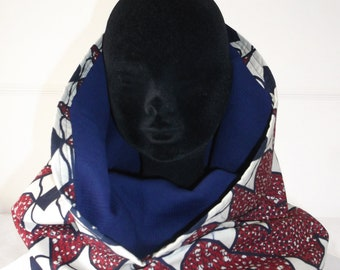 Kites of burgundy and cream midnight blue snood