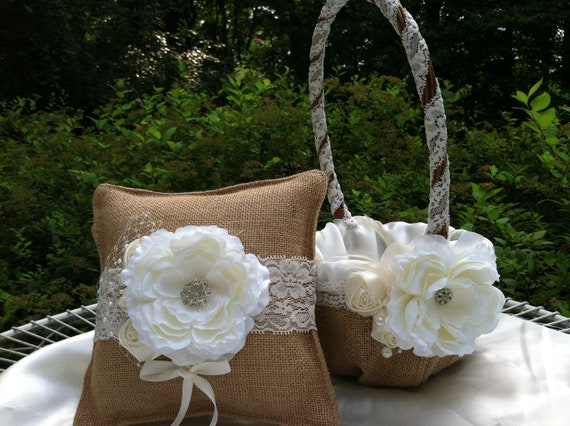 Flower Girl Baskets And Matching Ring Bearer Pillows : Burlap ring bearer pillow and matching flower girl basket with