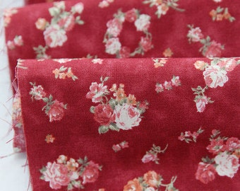 Cotton Fabric Olivia Flowers in Red per Yard 24568