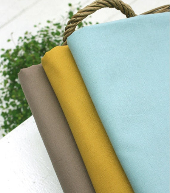 High Quality Solid Cotton Fabric -Sky Blue, Mustard or Brown - By the Yard 23930