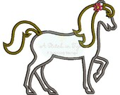 Girl Walking Horse Machine Applique & Embroidery Design