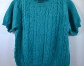 Vintage Turquoise Blue short sleeve Sweater top Large