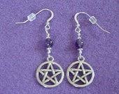 Amethyst Wicca Pagan Pentacle Pentagram Earrings Sterling Wires FREE US SHIP