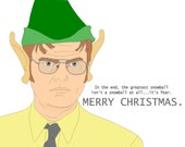 Funny Blank Christmas Greeting Card - Dwight from The Office dressed as an elf....